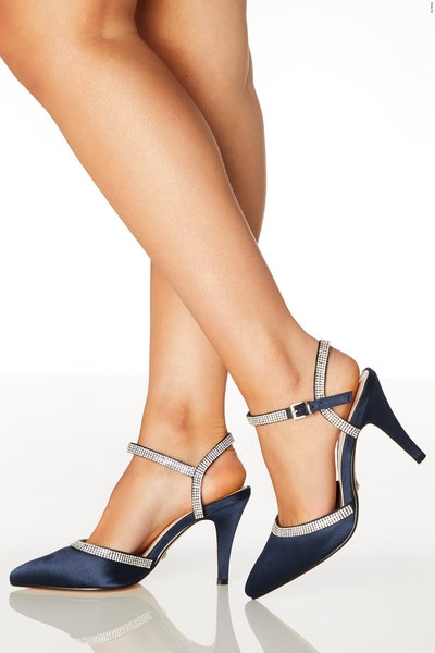 Wide Fit Navy Diamante Courts